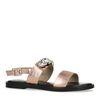 Sandales en cuir avec pierres - rose doré