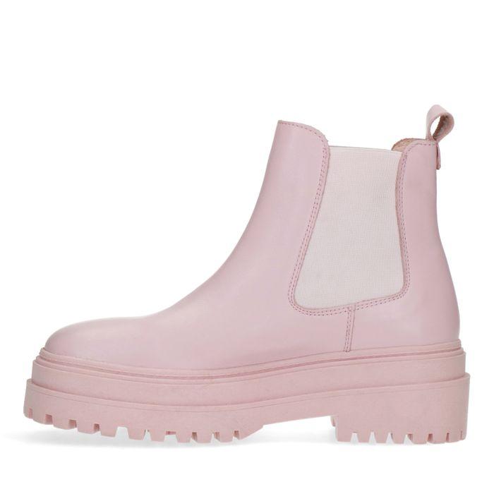 Chelsea boots en cuir - rose clair