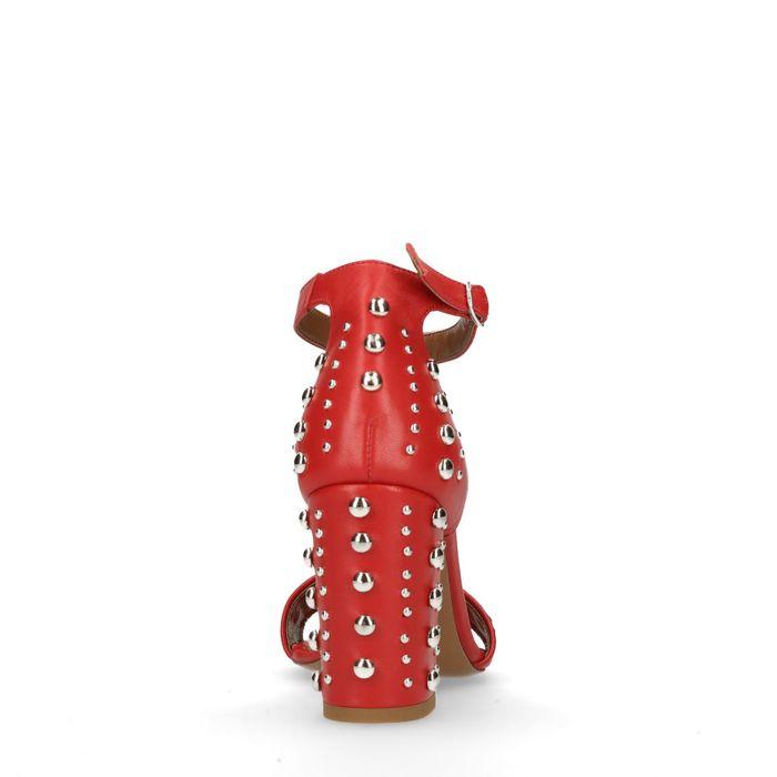 Sandales cuir à talon avec clous - rouge
