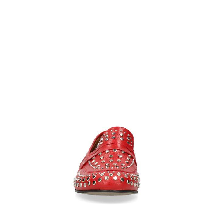 Loafers avec clous argentés - rouge