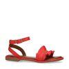 Sandales cuir avec froufrous - rouge