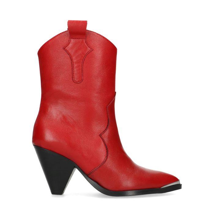 Bottes de cowboy en cuir rouge avec talon entonnoir
