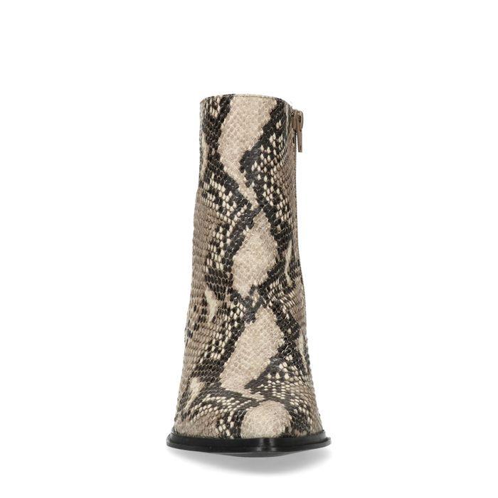Bottines en cuir à talon avec motif peau de serpent - beige