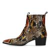 Bottines en cuir avec imprimé serpent - marron