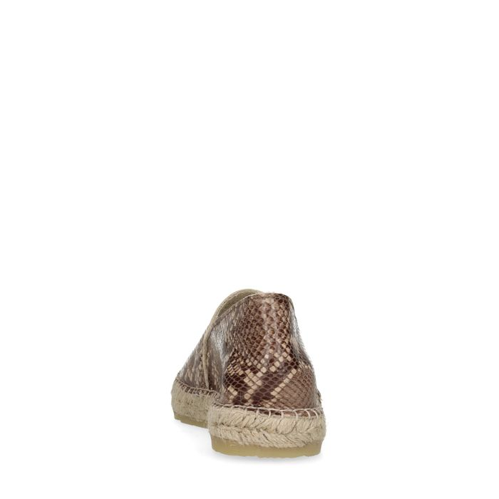 Espadrilles en cuir avec imprimé serpent - marron