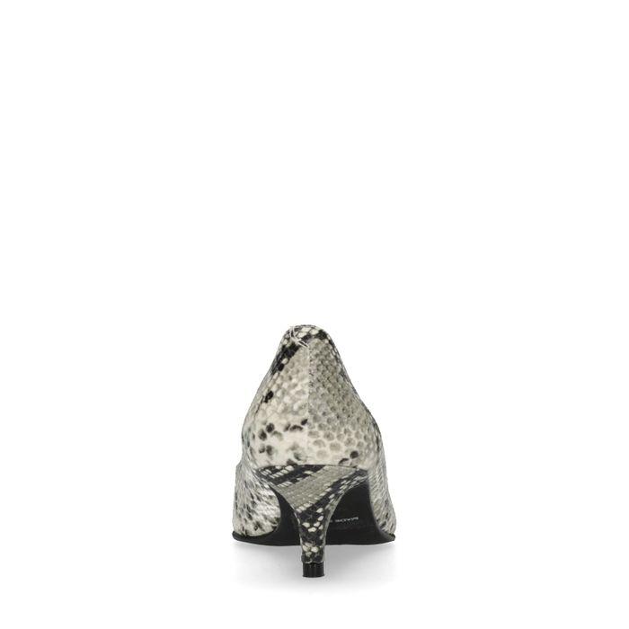 Escarpins en cuir avec petit talon et imprimé serpent