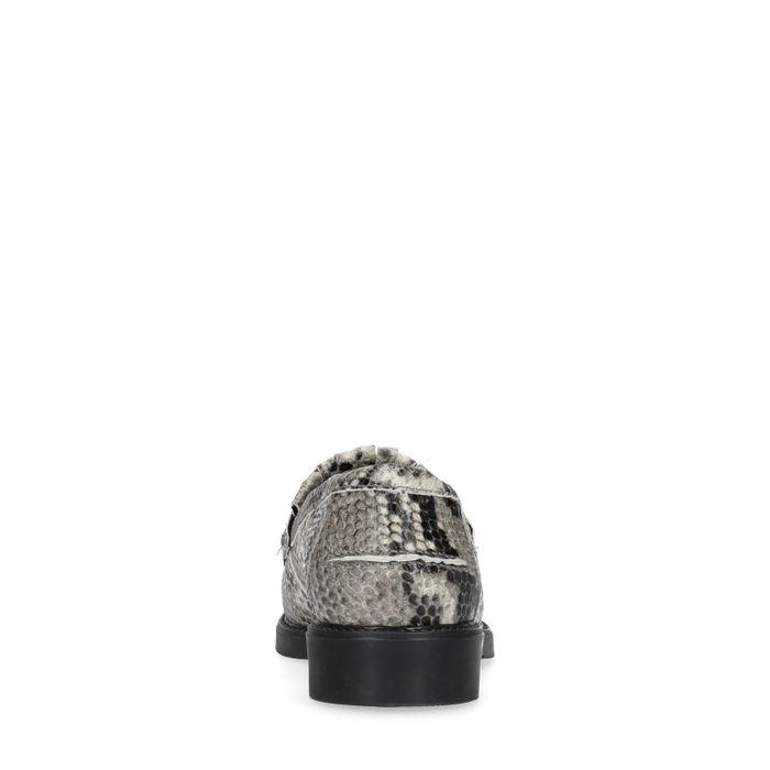 Loafers en cuir avec imprimé serpent - gris