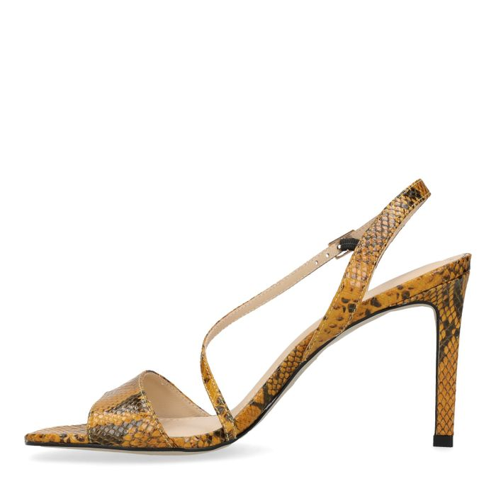 Sandales cuir à talon aiguille avec imprimé serpent - jaune