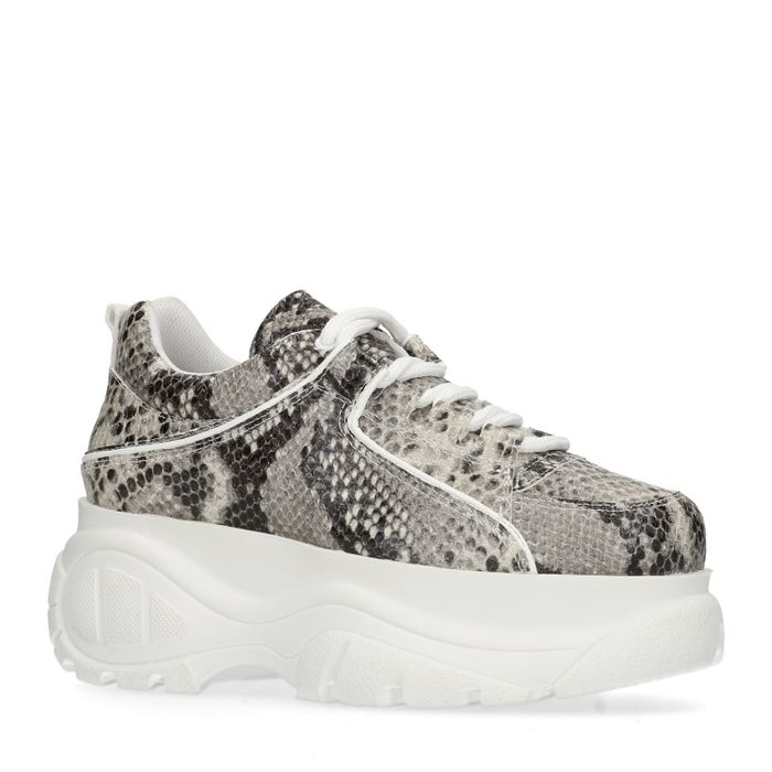 Grosses baskets en cuir avec imprimé serpent - gris
