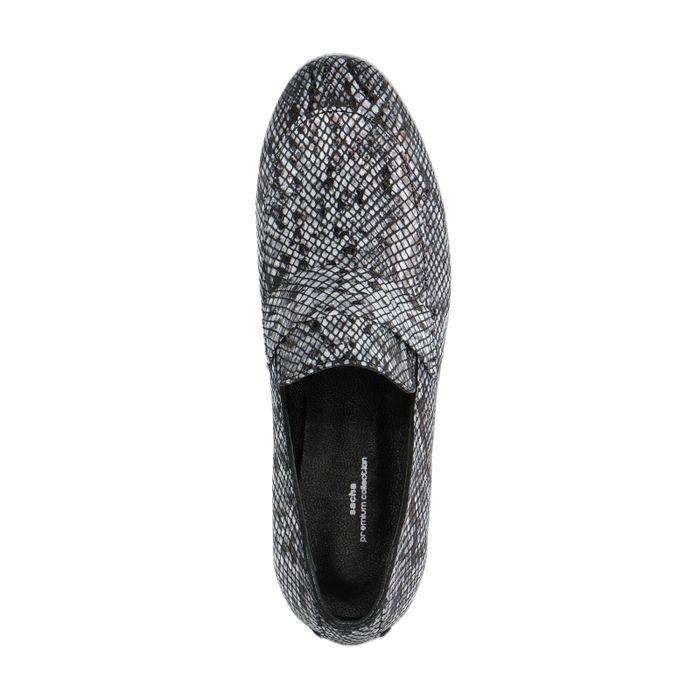 Loafers en cuir avec imprimé serpent - beige