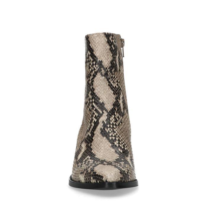 Bottines en cuir avec talon biseauté et imprimé serpent
