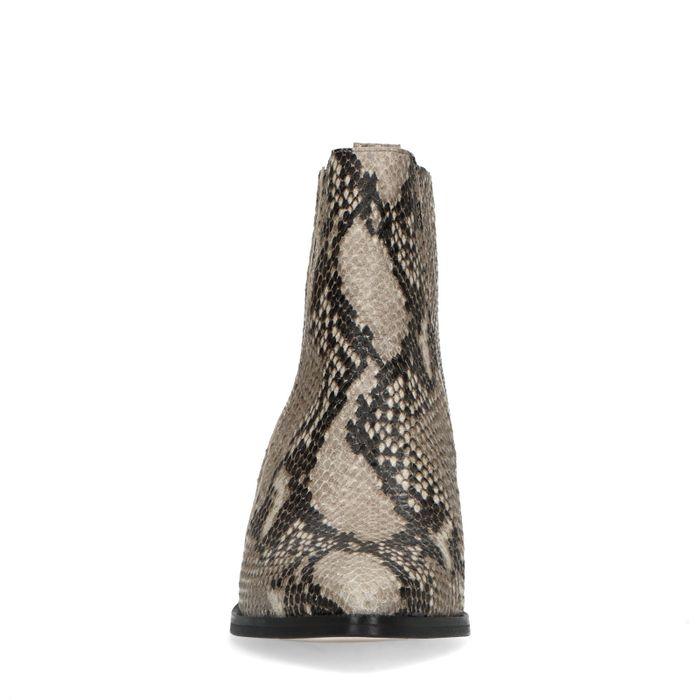 Bottines cuir à talon avec imprimé serpent - taupe
