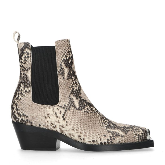 Chelsea boots cuir à talon avec imprimé serpent