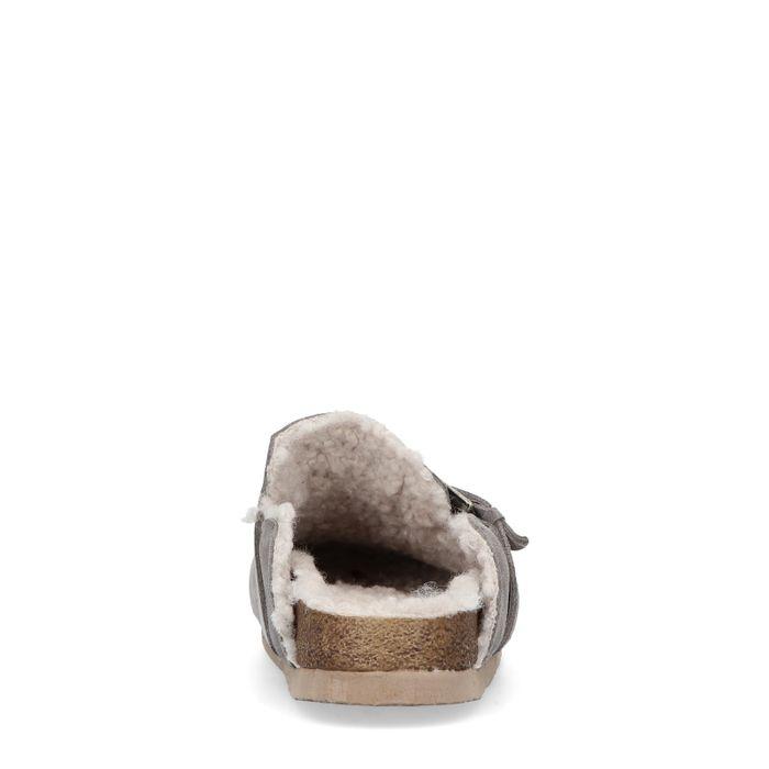 Chaussons en cuir avec boucle - taupe
