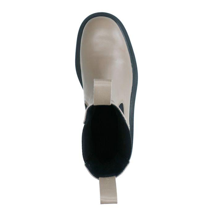 Chelsea boots en cuir avec détail - taupe