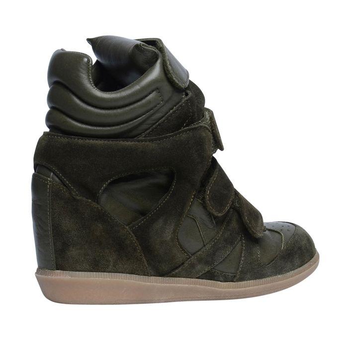 Chaussures à semelles compensées avec velcro - vert
