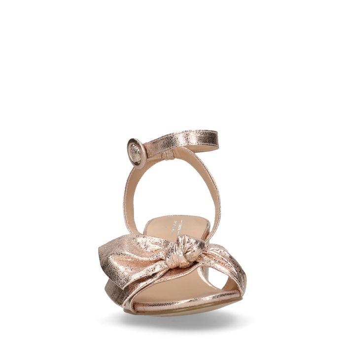 Sandales en cuir à talon métallisées - rose
