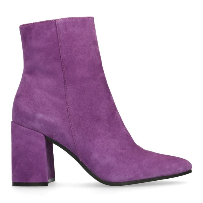 Bottines cuir à talon avec bout pointu - violet