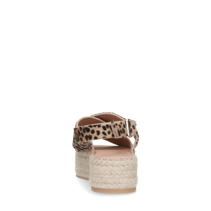 Sandales daim à plateforme avec imprimé léopard