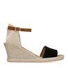 Sandales à talon compensé avec semelle tressée - noir