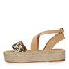 Sandales daim à plateforme avec corde - beige