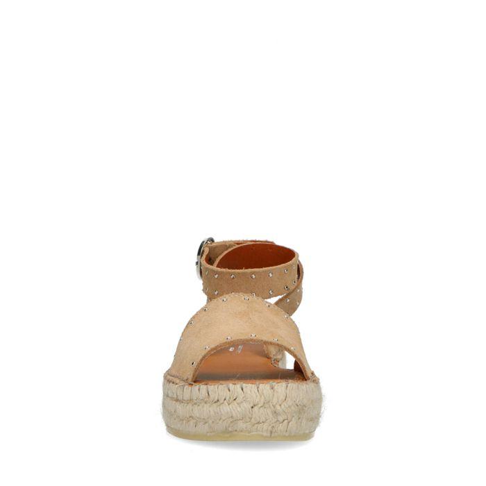 Sandales daim à plateforme - beige