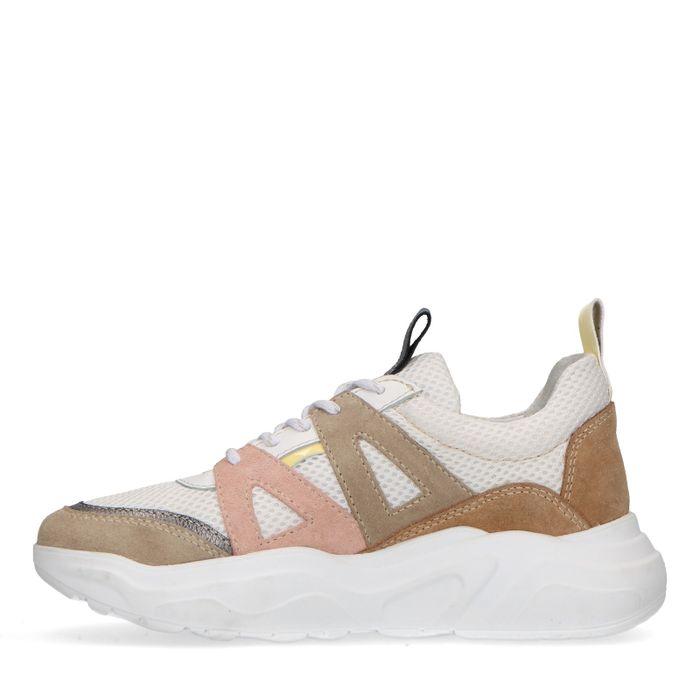 Dad shoes en daim avec détails colorés - beige