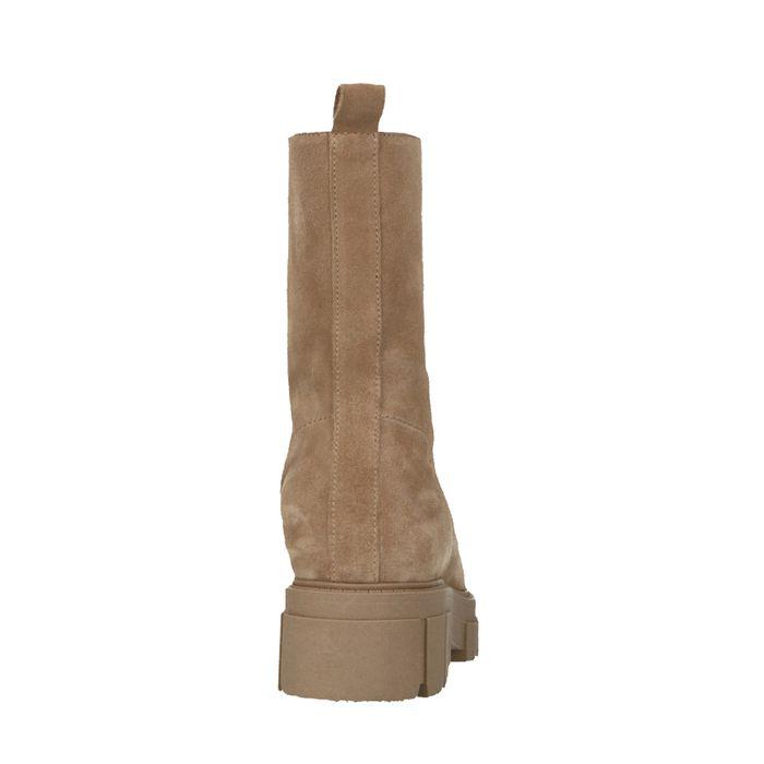 Chelsea boots en daim avec fermeture éclair - beige