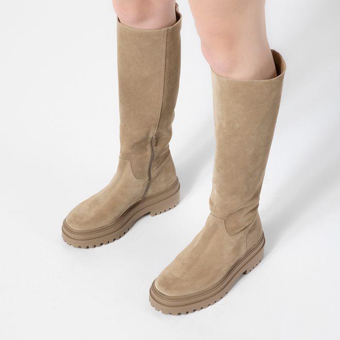 Chelsea boots montantes en daim - beige