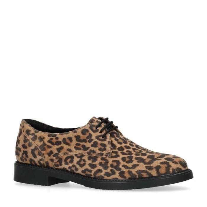 Chaussures à lacets en daim avec imprimé léopard - marron