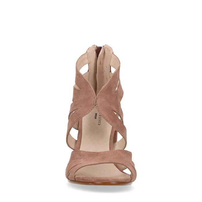 Sandales en daim à talon - nude