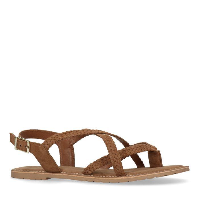 Sandales en daim tressées - marron