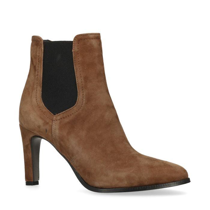 Chelsea boots en cuir à talon - marron
