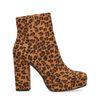 Bottines suédine à talon avec imprimé - léopard