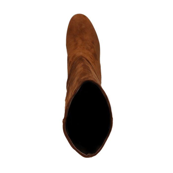 Bottes hautes en daim avec talon - marron