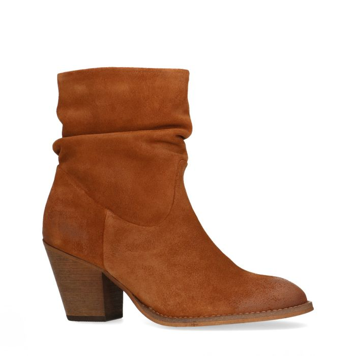 Bottines en daim avec talon - marron