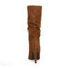 Bottes plissées hautes en daim - marron