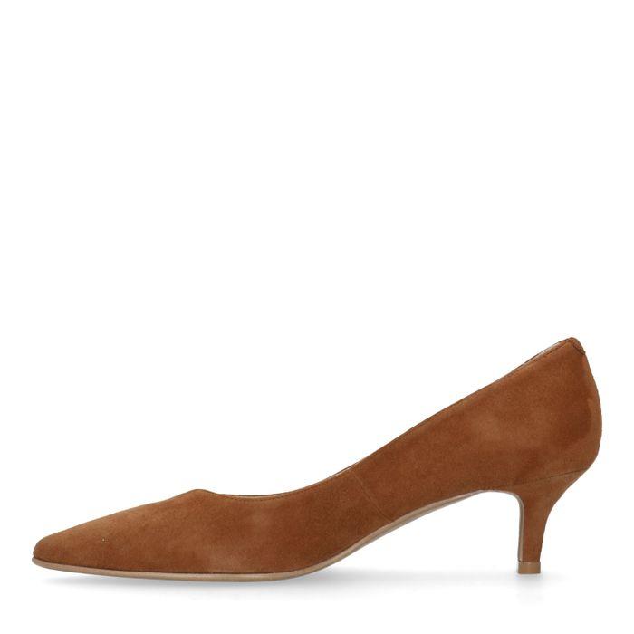 Escarpins en daim avec petit talon - marron