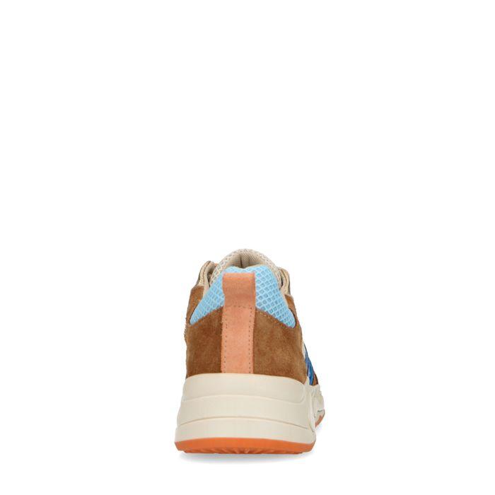 Baskets en daim avec détails colorés - marron