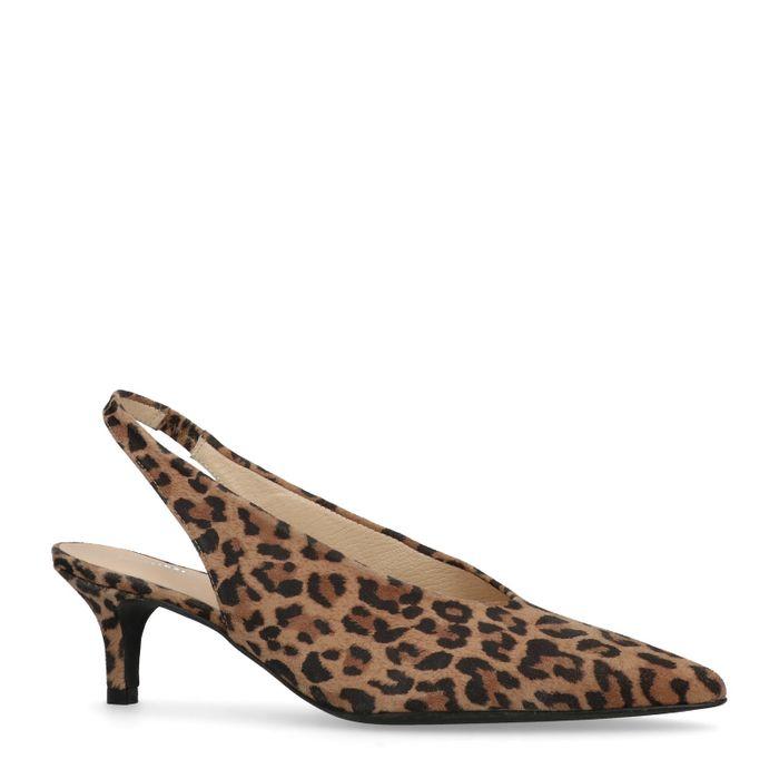 Escarpins slingback en daim avec petit talon et imprimé léopard