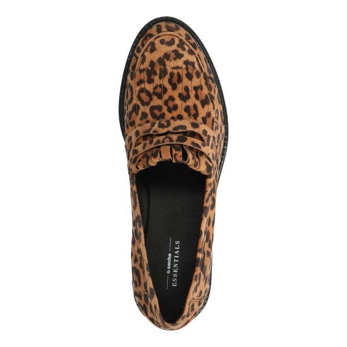 Loafers en daim avec imprimé léopard - marron