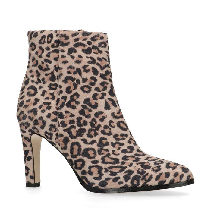 Bottines daim à talon avec imprimé léopard