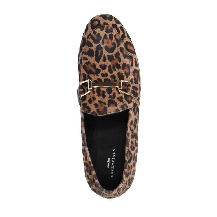 Loafers en daim avec imprimé léopard