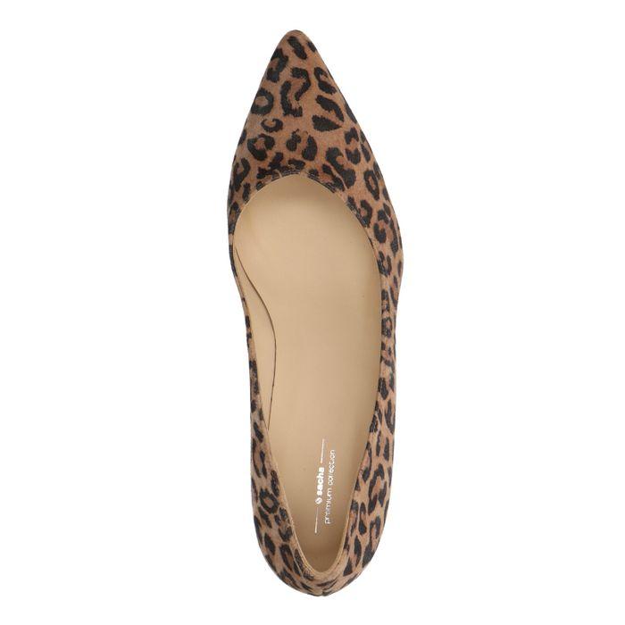 Escarpins en daim avec petit talon et imprimé léopard