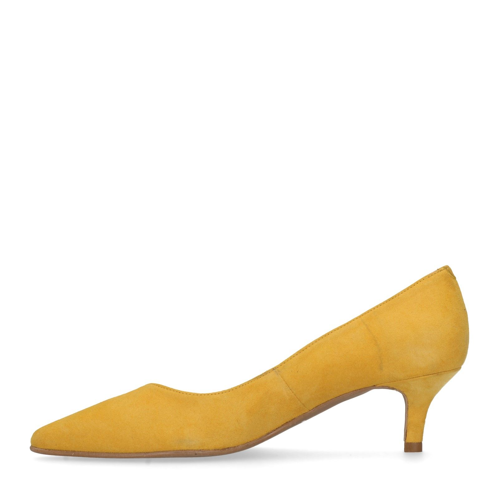 Sacha Escarpins en daim avec petit talon jaune