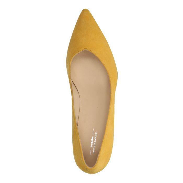 Escarpins en daim avec petit talon - jaune