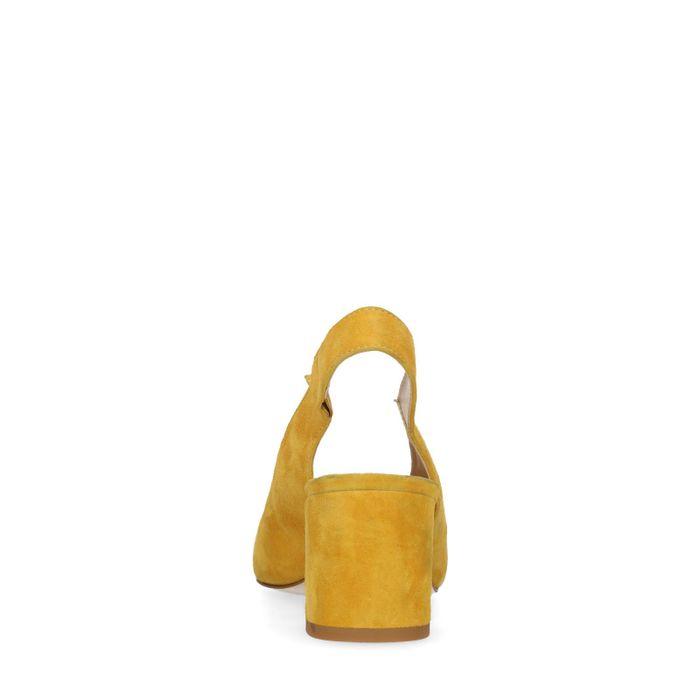 Escarpins slingback en daim avec talon cubain - jaune