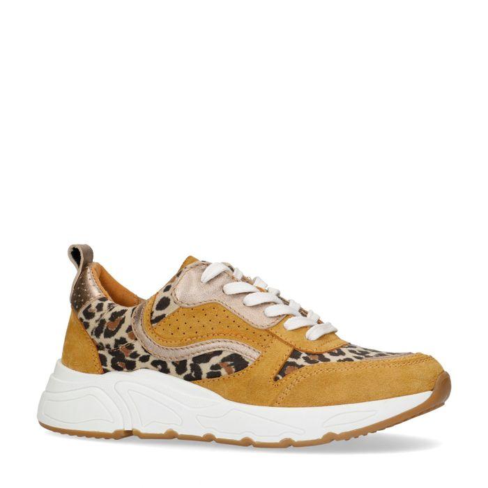 Dad shoes en daim avec imprimé léopard - jaune ocre