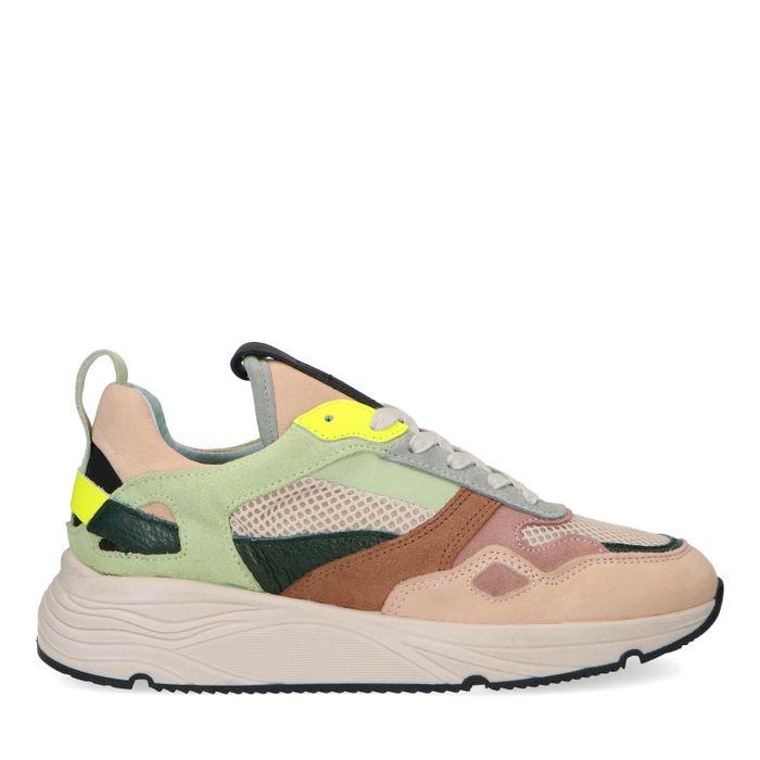 Dad shoes en daim avec détails multicolores - beige