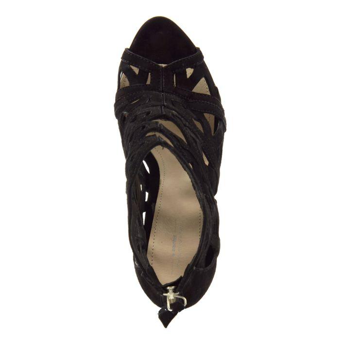 Escarpins en daim ajourés avec bout ouvert - noir